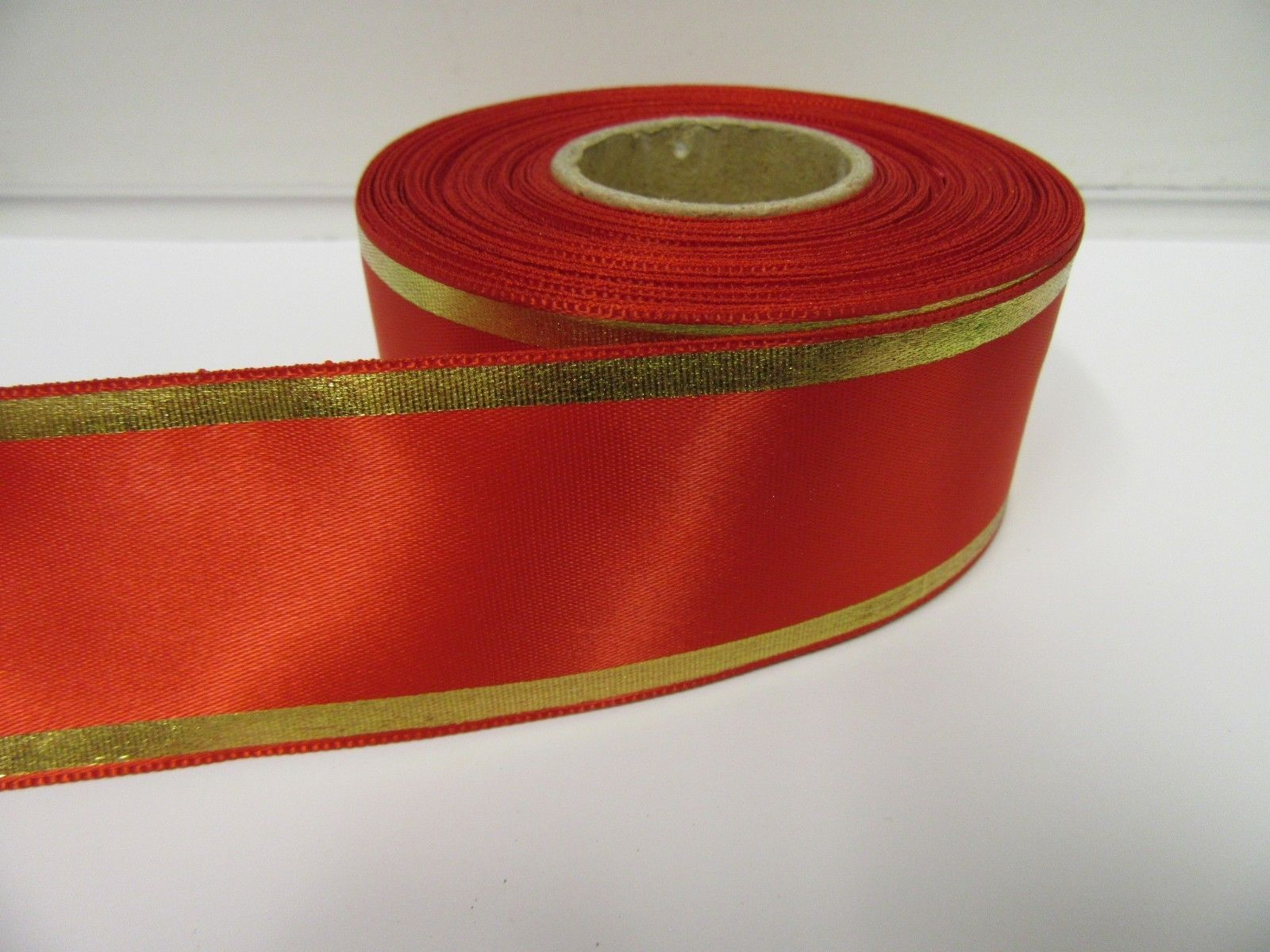2 metre or Full Roll 25mm 38mm Satin Tramlines Gold Metallic Stripe Ribbon tram