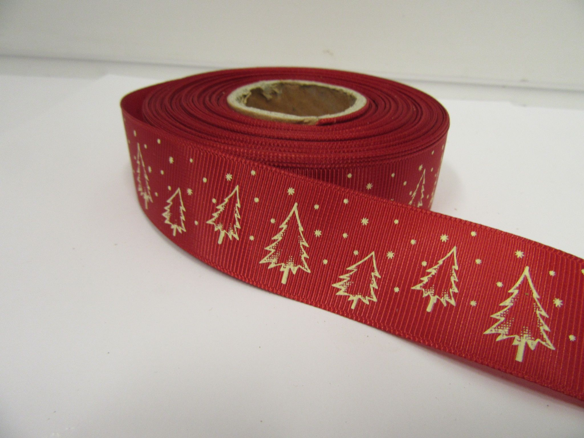 Red Cream 2 Or 20 Metres 25mm Christmas With Tree Grosgrain Ribbon Xmas Roll Craft